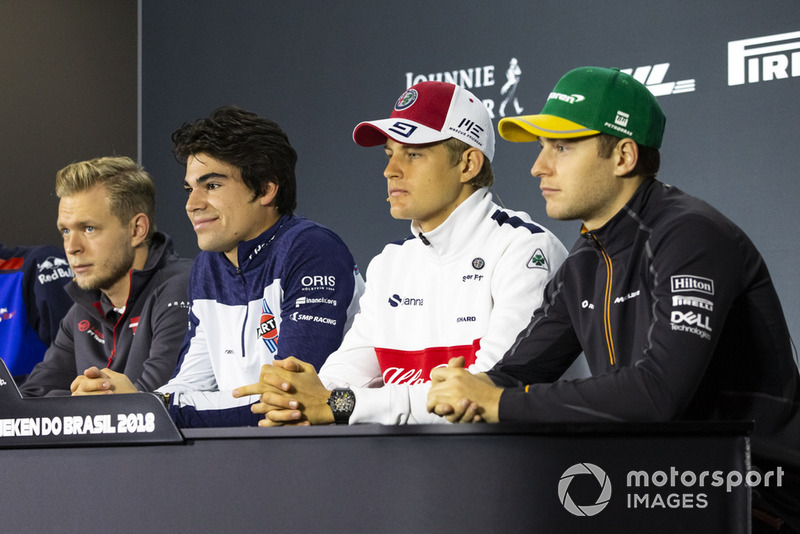 Kevin Magnussen, Haas F1 Team, Lance Stroll, Williams Racing, Marcus Ericsson, Sauber and Stoffel Vandoorne, McLaren in the press conference