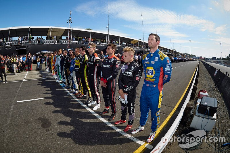 IndyCar Series drivers, crews and staff members pay tribute to Anthoine Hubert.