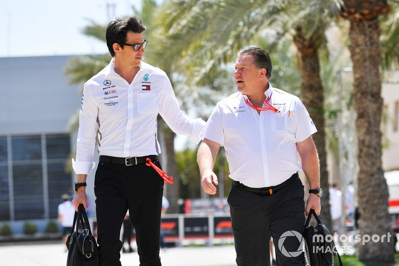 Toto Wolff, Executive Director (Business), Mercedes AMG and Zak Brown, Executive Director of McLaren