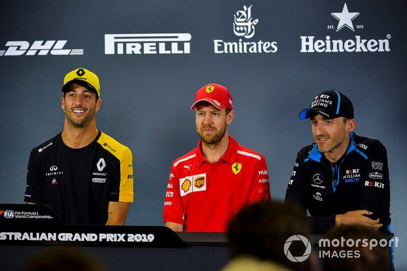 Daniel Ricciardo, Renault F1 Team, Sebastian Vettel, Ferrari y Robert Kubica, Williams Racing