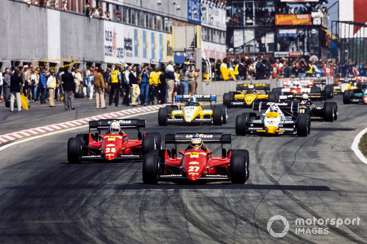 The start at Zolder '84, and Alboreto is about to dominate. Behind him are teammate Arnoux, Keke Rosberg's Williams, Derek Warwick's Renault, the Lotus of Elio de Angelis and Manfred Winkelhock in an ATS.