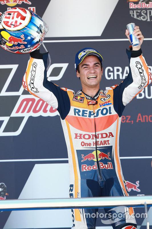 Podium: Race winner Dani Pedrosa, Repsol Honda Team