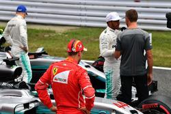 Sebastian Vettel, Ferrari, Lewis Hamilton, Mercedes AMG F1 and Jenson Button, in parc ferme