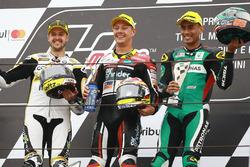 Podium: race winner Dominique Aegerter, Kiefer Racing, second place Thomas Luthi, CarXpert Interwetten, third place Hafizh Syahrin, Petronas Raceline Malaysia