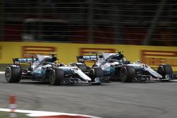 Lewis Hamilton, Mercedes AMG F1 W08, and Valtteri Bottas, Mercedes AMG F1 W08