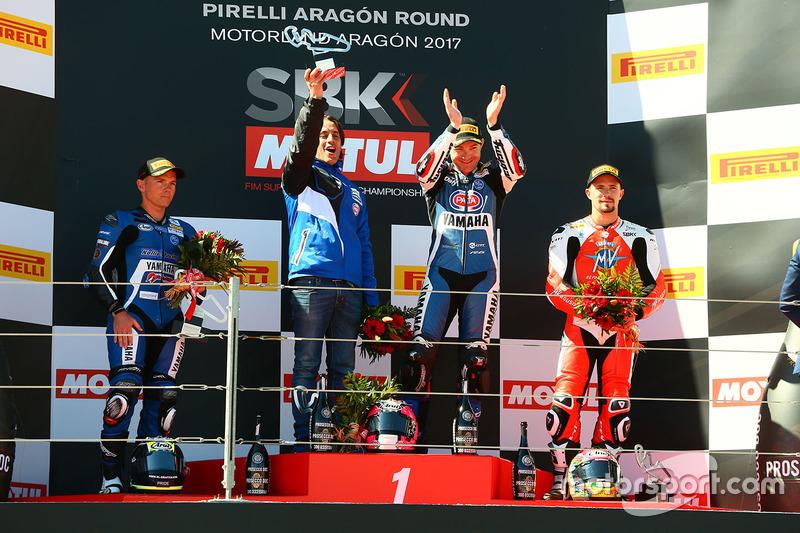 Podium: race winner Lucas Mahias, GRT Yamaha Official WorldSSP Team, second place Sheridan Morais, K