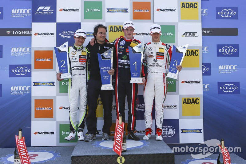 Podium: Race winner Joel Eriksson, Motopark Dallara F317 - Volkswagen, second place Lando Norris, Carlin Dallara F317 - Volkswagen, third place Mick Schumacher, Prema Powerteam, Dallara F317 - Mercedes-Benz