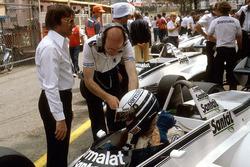 Riccardo Patrese, Brabham BT49D Ford overlooked by team boss Bernie Ecclestone