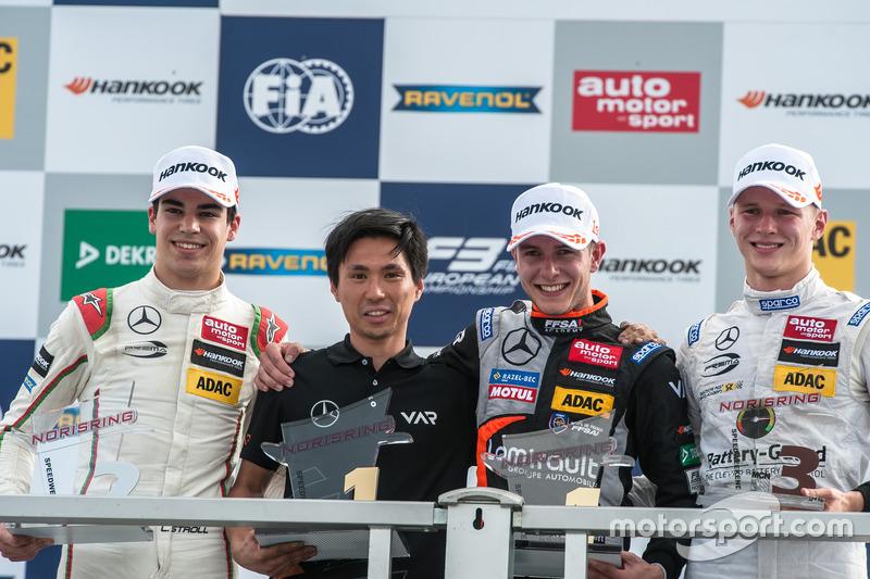 Podyum: Lance Stroll, Prema Powerteam Dallara F312 - Mercedes-Benz, Anthoine Hubert, Van Amersfoort