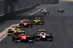 Jimmy Eriksson, Arden International leads Sergey Sirotkin, ART Grand Prix & Sean Gelael, Pertamina C