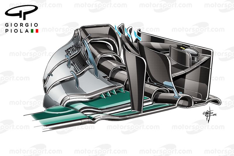 Mercedes W07 endplate, Barcelona, captioned