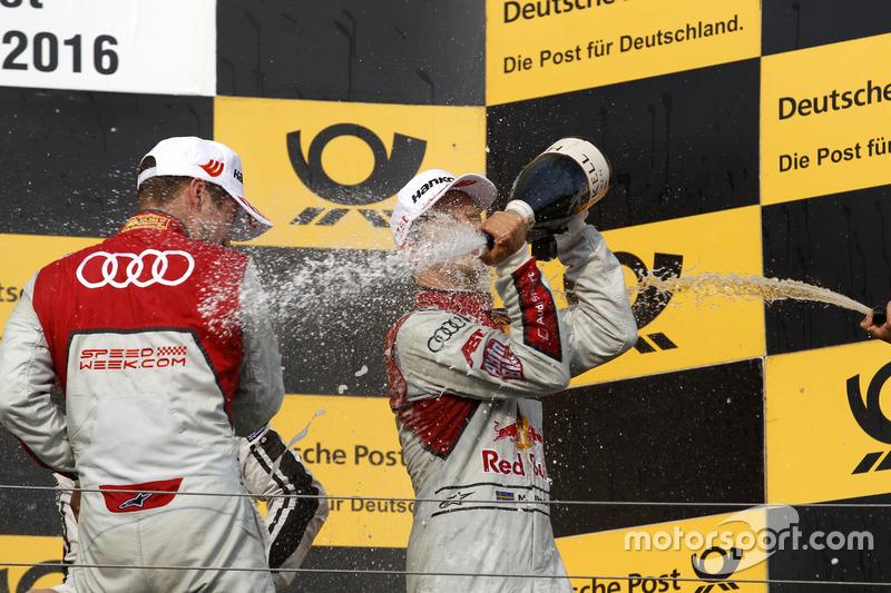Podium: Adrien Tambay, Audi Sport Team Rosberg, Audi RS 5 DTM; Mattias Ekström, Audi Sport Team Abt Sportsline, Audi A5 DTM