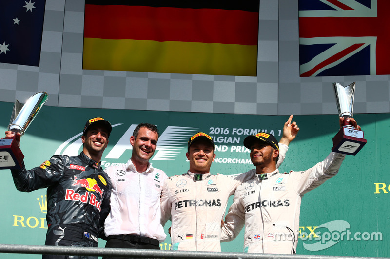 1st place for Nico Rosberg, Mercedes AMG Petronas F1 W07, 2nd place for Daniel Ricciardo, Red Bull Racing RB12 and 3rd place for Lewis Hamilton, Mercedes AMG F1 W07
