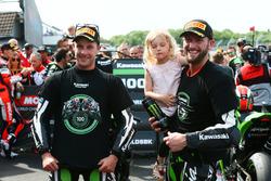 Race winner Jonathan Rea, Kawasaki Racing, second place Tom Sykes, Kawasaki Racing