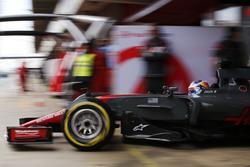 Romain Grosjean, Haas F1 Team VF-17, exits his pit garage