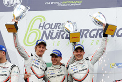 LMP1 Podium: race winners Timo Bernhard, Earl Bamber, Brendon Hartley, Porsche Team