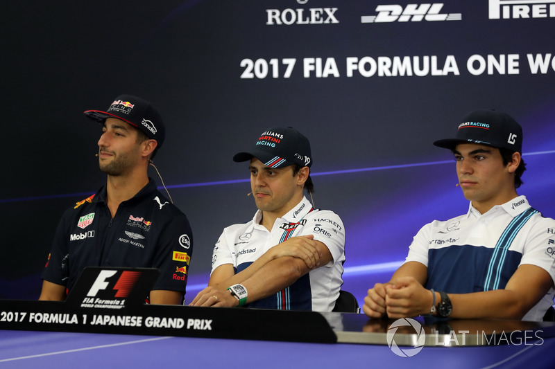 Daniel Ricciardo, Red Bull Racing, Felipe Massa, Williams and Lance Stroll, Williams in the Press Conference