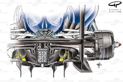 Williams FW32 double diffuser detail, yellow highlighting shows where airflow is drawn up through the floor