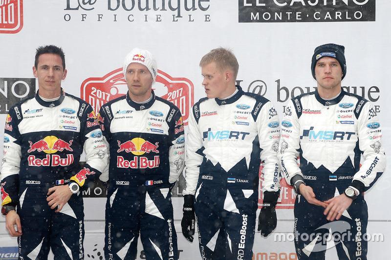 Podio: ganador del Rally, Sébastien Ogier, Julien Ingrassia, M-Sport, y el tercer clasificado Ott Tänak, Martin Järveoja, M-Sport