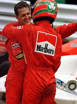 Michael Schumacher, Ferrari y su compañero Eddie Irvine, Ferrari