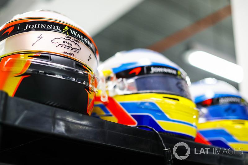 Casco de Stoffel Vandoorne, McLaren, Fernando Alonso, McLaren