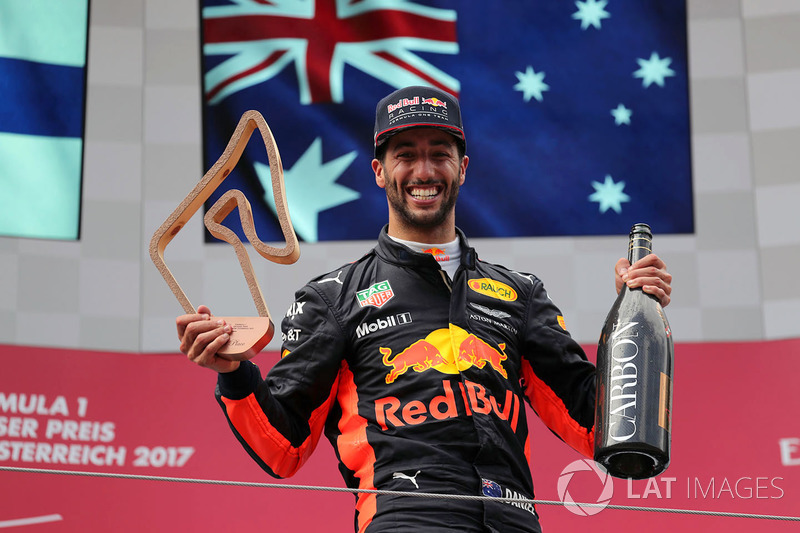 Third place Daniel Ricciardo, Red Bull Racing celebrates on the podium