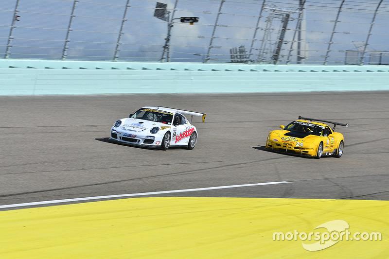 #24 MP1B Chevrolet Corvette driven by Juan Vento & Frank Eiroa of JV Racing, #64 MP1B Porsche GT3 Cu