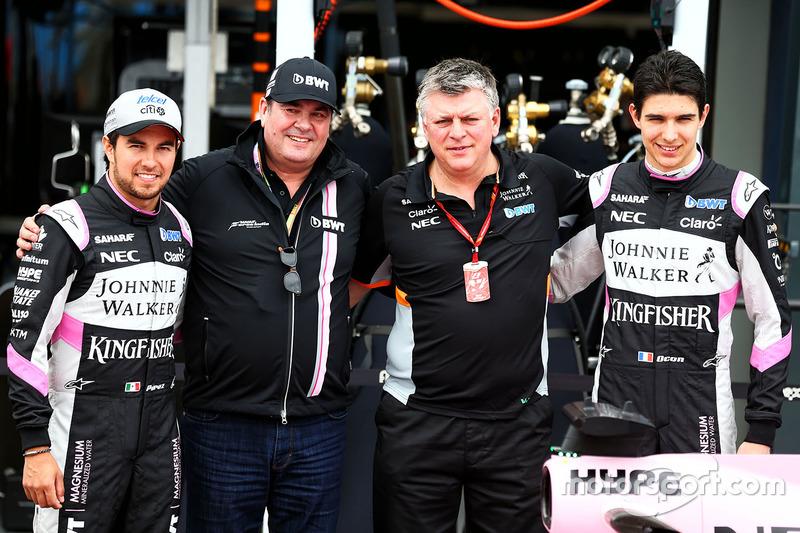 Sergio Perez, Sahara Force India F1; Lutz Hübner, BWT; Otmar Szafnauer; Esteban Ocon, Sahara Force I