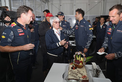 F1 supremo Bernie Ecclestone is presented with a birthday cake by Christian Horner, Red Bull Racing