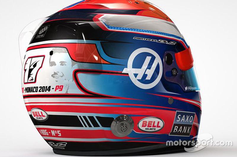 Casco de Romain Grosjean Mónaco GP con homenaje a Jules Bianchi