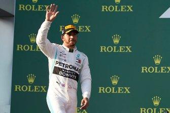 Lewis Hamilton, Mercedes AMG F1, 2nd position, on the podium