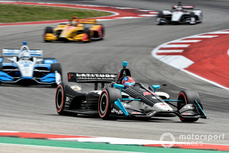 Herta leads Josef Newgarden, Ryan Hunter-Reay and Graham Rahal, following the restart at Circuit of The Americas.