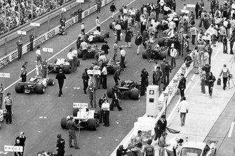 Startaufstellung zum GP Deutschland 1977 in Hockenheim