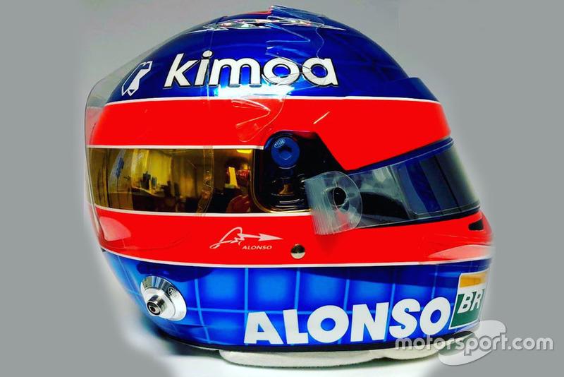 Le casque de Fernando Alonso, McLaren, pour sa dernière course en F1