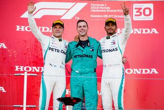 Race winner Lewis Hamilton, Mercedes AMG F1, and second place Valtteri Bottas, Mercedes AMG F1, on the podium