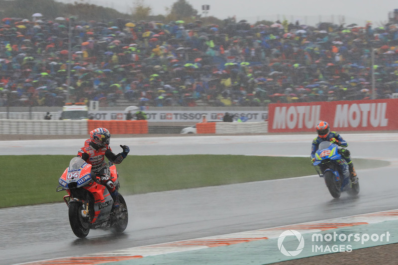 Race winner Andrea Dovizioso, Ducati Team, second place Alex Rins, Team Suzuki MotoGP
