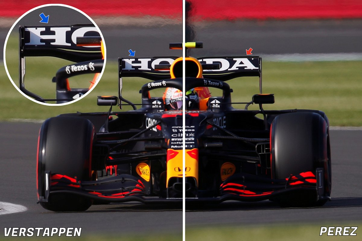 Red Bull RB16B rear wing comparison