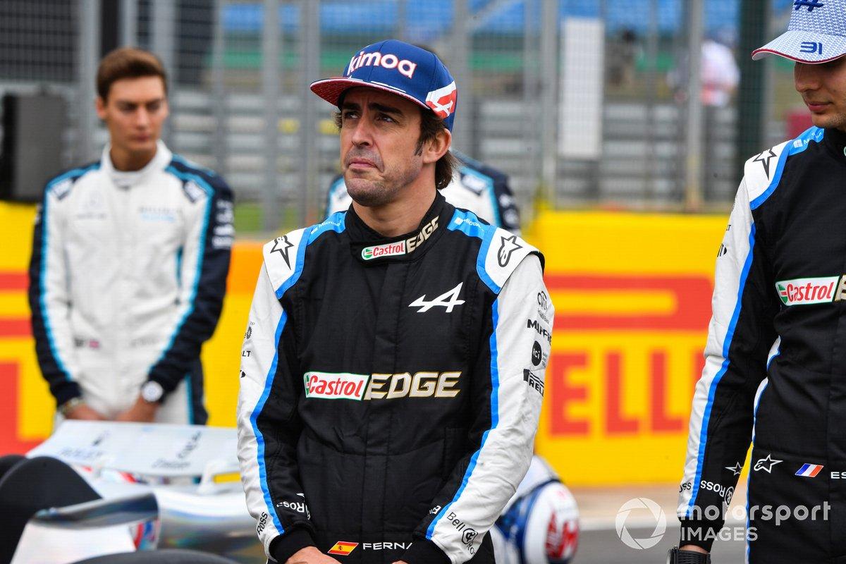 The 2022 Formula 1 car launch event on the Silverstone grid. Fernando Alonso, Alpine F1 and Esteban Ocon, Alpine F1