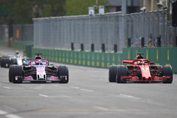 Sebastian Vettel, Ferrari SF71H ve Sergio Perez, Force India VJM11