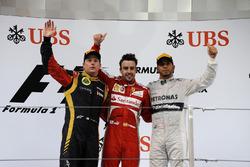 Podium: second place Kimi Raikkonen, Lotus F1 Team, Race winner Fernando Alonso, Ferrari, third place Lewis Hamilton, Mercedes AMG F1