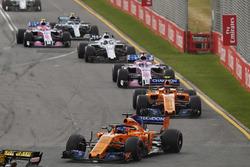 Fernando Alonso, McLaren MCL33 Renault, leads Stoffel Vandoorne, McLaren MCL33 Renault, Sergio Perez, Force India VJM11 Mercedes, and Lance Stroll, Williams FW41 Mercedes