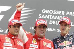 Podium: Felipe Massa, Ferrari F10, second place, Fernando Alonso, Ferrari F10, race winner, Sebastian Vettel, Red Bull Racing RB6, third place