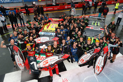 Podium: Race winners Chaz Mostert, Steven Owen, Rod Nash Racing Ford and second place Cameron Waters, Richie Stanaway, Prodrive Racing Australia