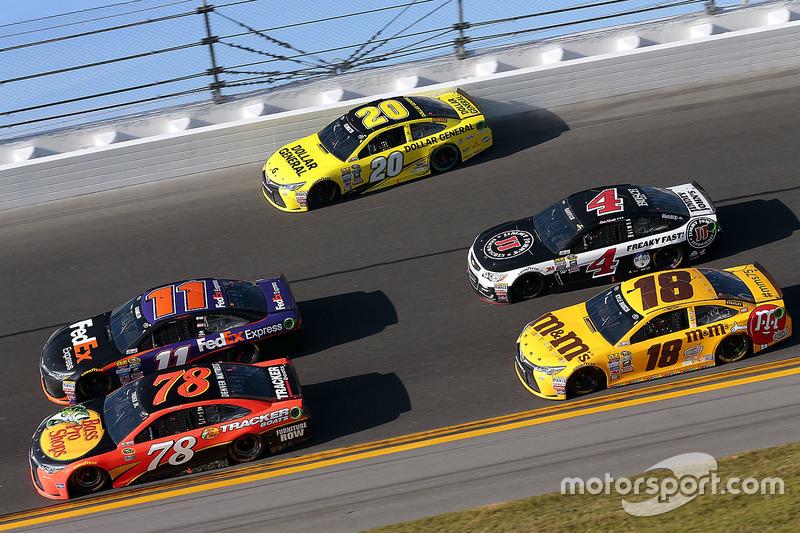 10. Matt Kenseth, Joe Gibbs Racing Toyota, Denny Hamlin, Joe Gibbs Racing Toyota, Martin Truex Jr., Furniture Row Racing Toyota