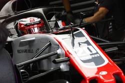Kevin Magnussen, Haas F1 Team VF-18, in the garage