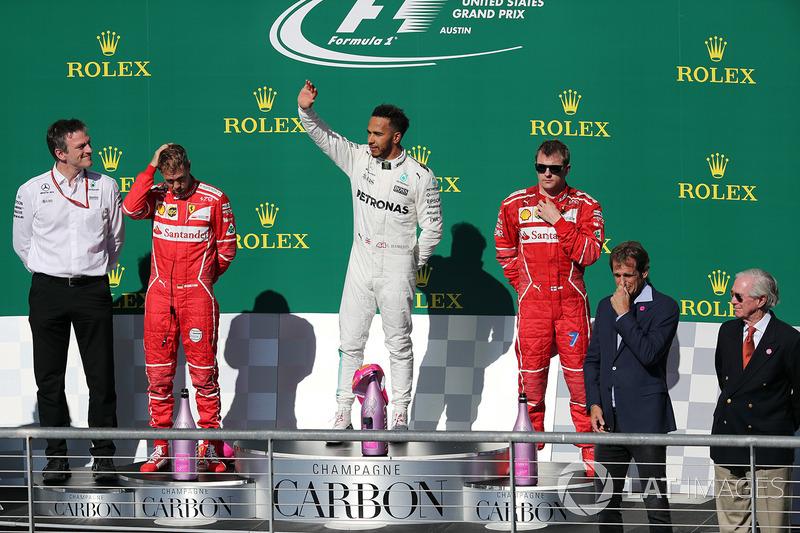 17º Podio del GP de Estados Unidos 2017 - 2º Sebastian Vettel, Ferrari; 1º Lewis Hamilton, Mercedes; 3º Kimi Raikkonen, Ferrari