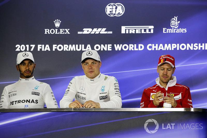 Basın toplantısı: Yarış galibi Valtteri Bottas, Mercedes AMG F1, 2. Lewis Hamilton, Mercedes AMG F1, 3. Sebastian Vettel, Ferrari