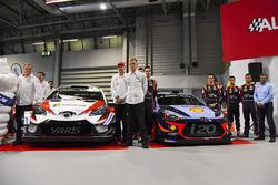 Le team Toyota WRC, avec Tommi Makinen, Jari-Matti Lavala, Ott Tanak et Esapekka Lappi, et le team Hyundai, avec Dani Sordo, Thierry Neuville, Hayden Paddon et Michel Nandan