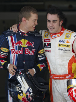 Sebastian Vettel, Red Bull Racing with Fernando Alonso, Renault F1 Team