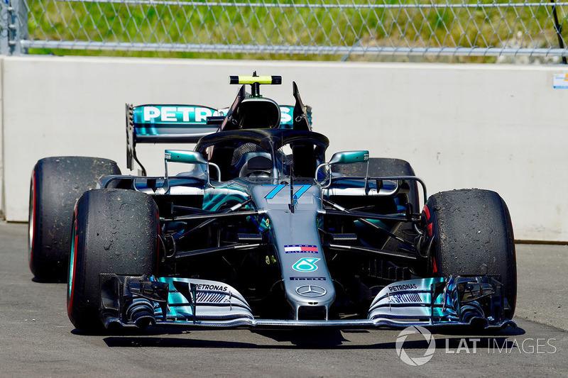 La voiture de Valtteri Bottas, Mercedes-AMG F1 W09 après son abandon
